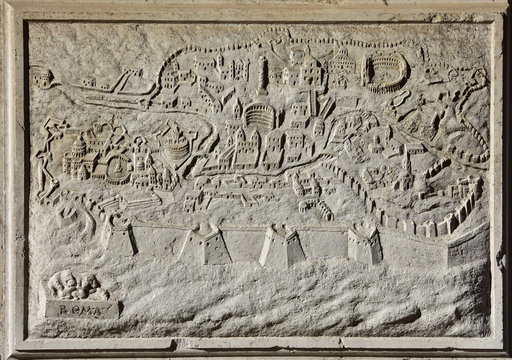 Ancient map of Rome, the eternal city