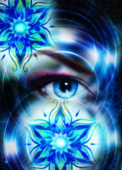 Goddess Woman eye and oriental ornamental mandala in cosmic space.