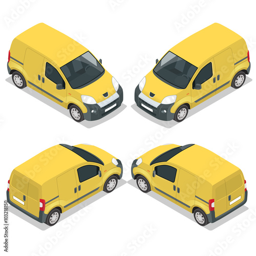 Set of icons small truck for transportation cargo. Van for the ...