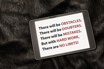 Inspirational Quote on Tablet.