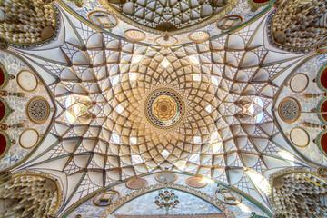 Ornamental ceiling of Borujerdi Historical House in Kashan, Iran