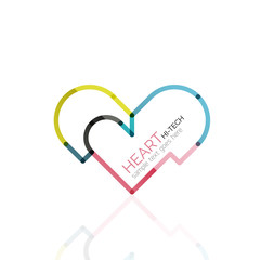 Logo love heart, abstract linear geometric business icon