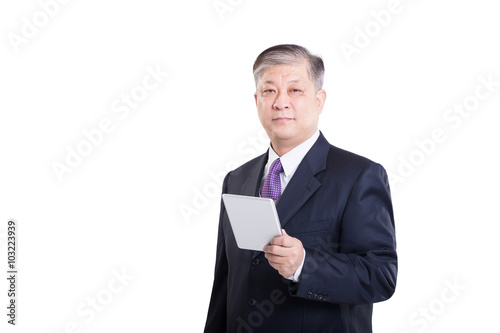 pose and gesture of old Asian businessman in suit