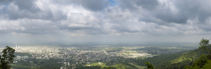 Landscape view of Hat Yai town,Songkla, Thailand from the mounta