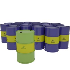 arrel of biofuel against barrels with fuel on a white background