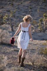 beautiful bohemian girl in desert