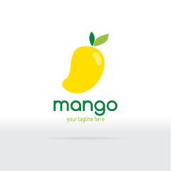 Mango Logo Flat Design. Fruit Vector illustration.