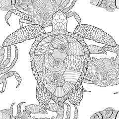 Oceanic animals zentangle seamless pattern.