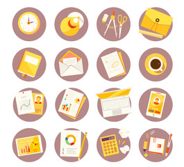 Vector big set of colorful study icons on white background.