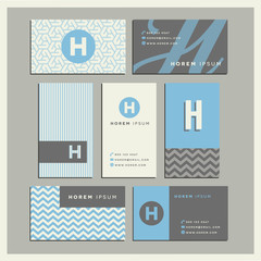 Set of coordinating business card designs with the letter h