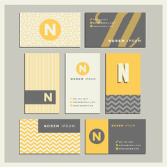 Set of coordinating business card designs with the letter n