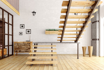 Modern interior with staircase 3d render
