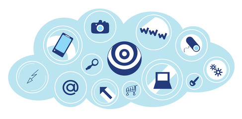 cloud technologies/ background set of vector icons in the cloud