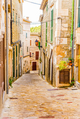 Wall Mural - View of a alleyway of a old spanish village with rustic houses