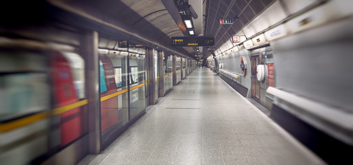 Motion blur of subway train