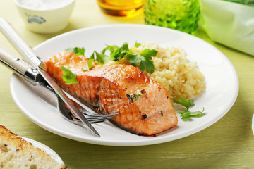 roasted steak salmon