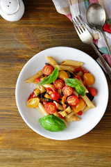 pasta penne with roasted vegetables