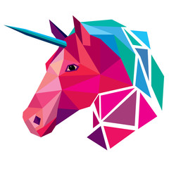 Unicorn head low poly design vector illustration isolated on white background.