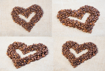 Set hearts of coffee beans