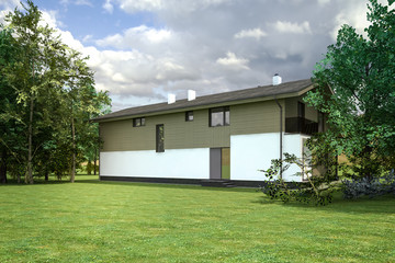3D visualization of the country house in the woods