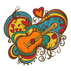 Musical icon with guitar, graffiti