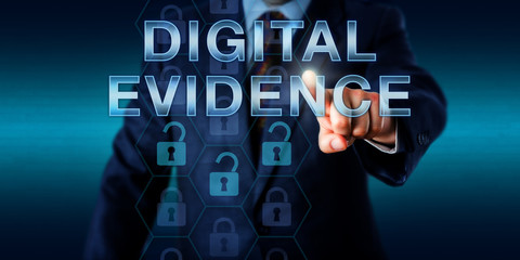 Cyber Investigator Touching DIGITAL EVIDENCE.