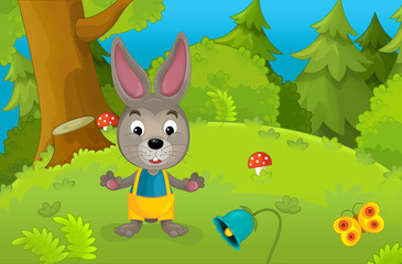 Happy cartoon scene with a young bunny - illustration for the children