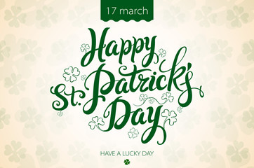 happy patrick day vintage lettering background
