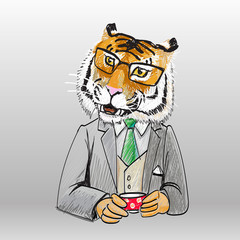 tiger male tiger head chief of businessman drinking coffee from