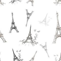 seamless texture tour Eiffel romantic vector illustration heart
