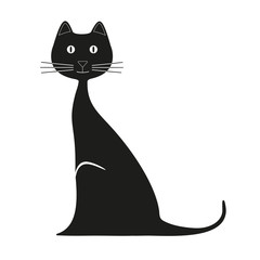 animals, vector, cat, illustration, domestic, black, image, pets, decoration, graphic, mammal, elegance, broom, tattoo, one, mammal, sitting