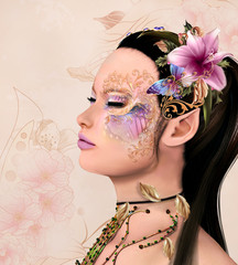 Beautiful fairy with fantasy make up - 3d and digital painted illustration
