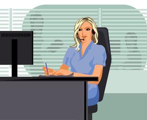 Girl operator in call center