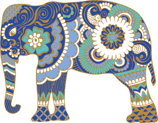 Asian elephant with patterns