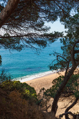 Idyllic Mediterranean beach near Calella at the Costa Brava, Spain.