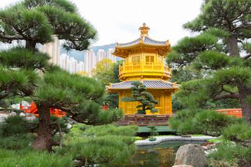 Golden Pavilion of Perfection in Nan Lian Garden, Hong Kong, China.