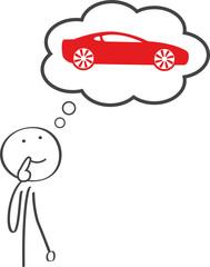 Strichmännchen überlegt sich den kauf eines neuen Sportwagens