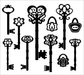 skeleton key photos royalty free images graphics vectors videos Skeleton Key Locks black silhouettes of vintage keys decorated with floral ornamen