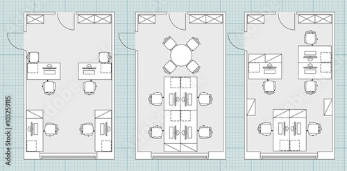 Blueprint office akbaeenw standard office furniture symbols set used in architecture plans malvernweather Choice Image