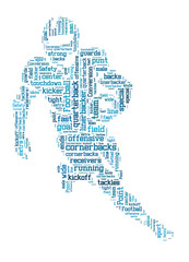 American football word cloud, football typography background