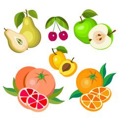 Set of cartoon fruits.