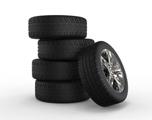 Stacked car wheels and tires