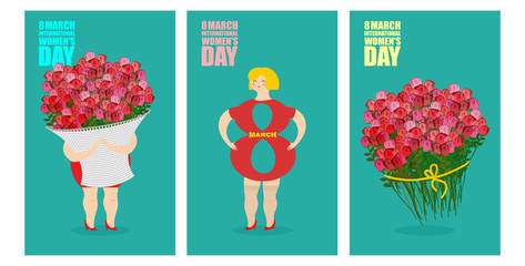 8 March set of postcards. International womens day. Woman and ba