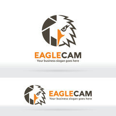 Eagle camera, Eagle head and shutter abstract logo. Photography company identity. Photographer portfolio. Sharp eagle eye and camera shutter logo.