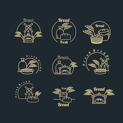 Bakery logo set. Pastry logo. Bread and baguette. Mill and bag w
