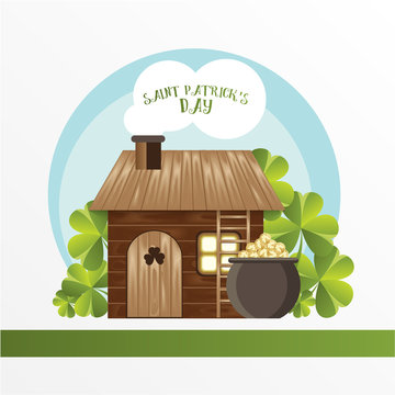 Card for St. Patrick Day. Leprechaun house and the Pot with golden coins. Cartoon funny style.