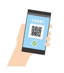 モバイルチケットを表示するスマートフォン
