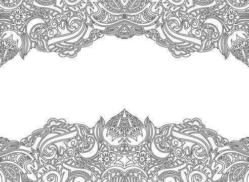 Hand drawn doodle floral border.