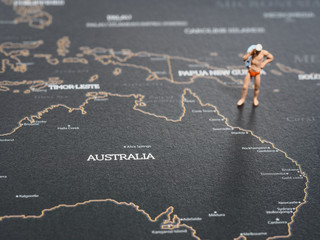 Miniature on map of Australia, holiday Concept