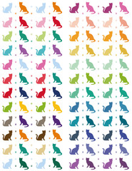 Colorfull cats silhouettes Minilamlistic printable planner stickers for them Erin Condren planner or other planners as well